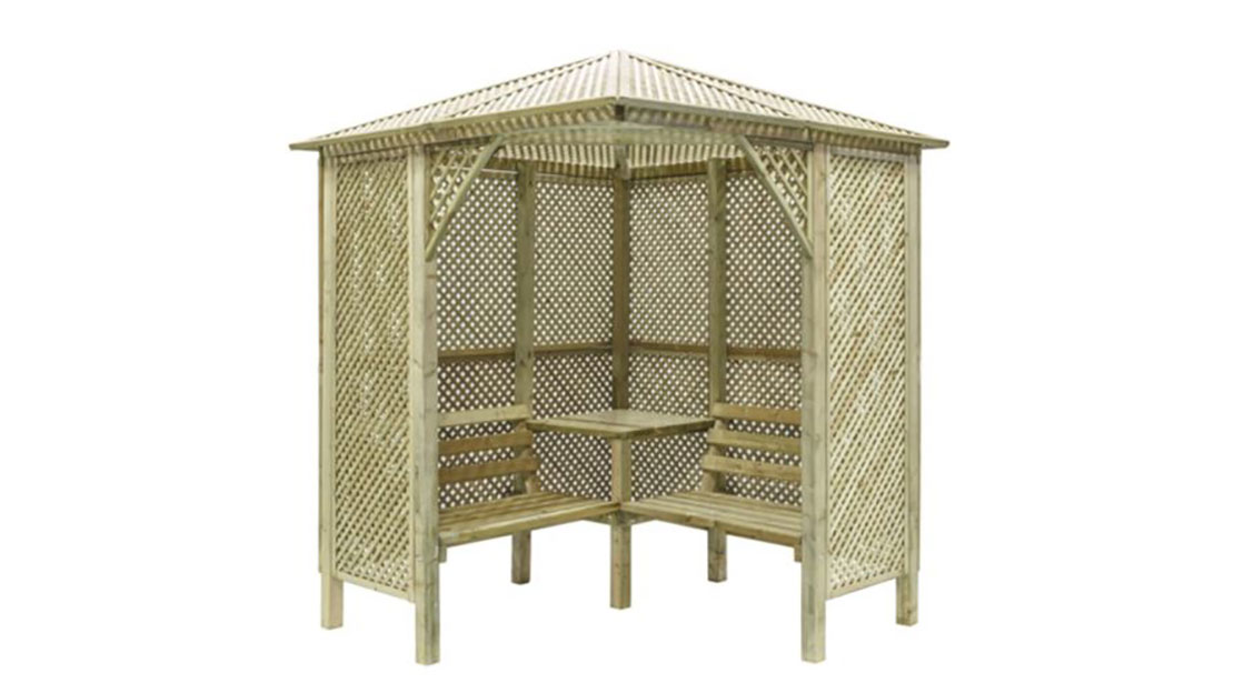 The Valencia Corner Arbour is a definitivestructure, ideal for creating a sheltered dining area, or a relaxing seating area. The lattice trellis design creates a truly classic structure. The strong and sturdy construction is pressure-treated to ensure protection and long term use.
