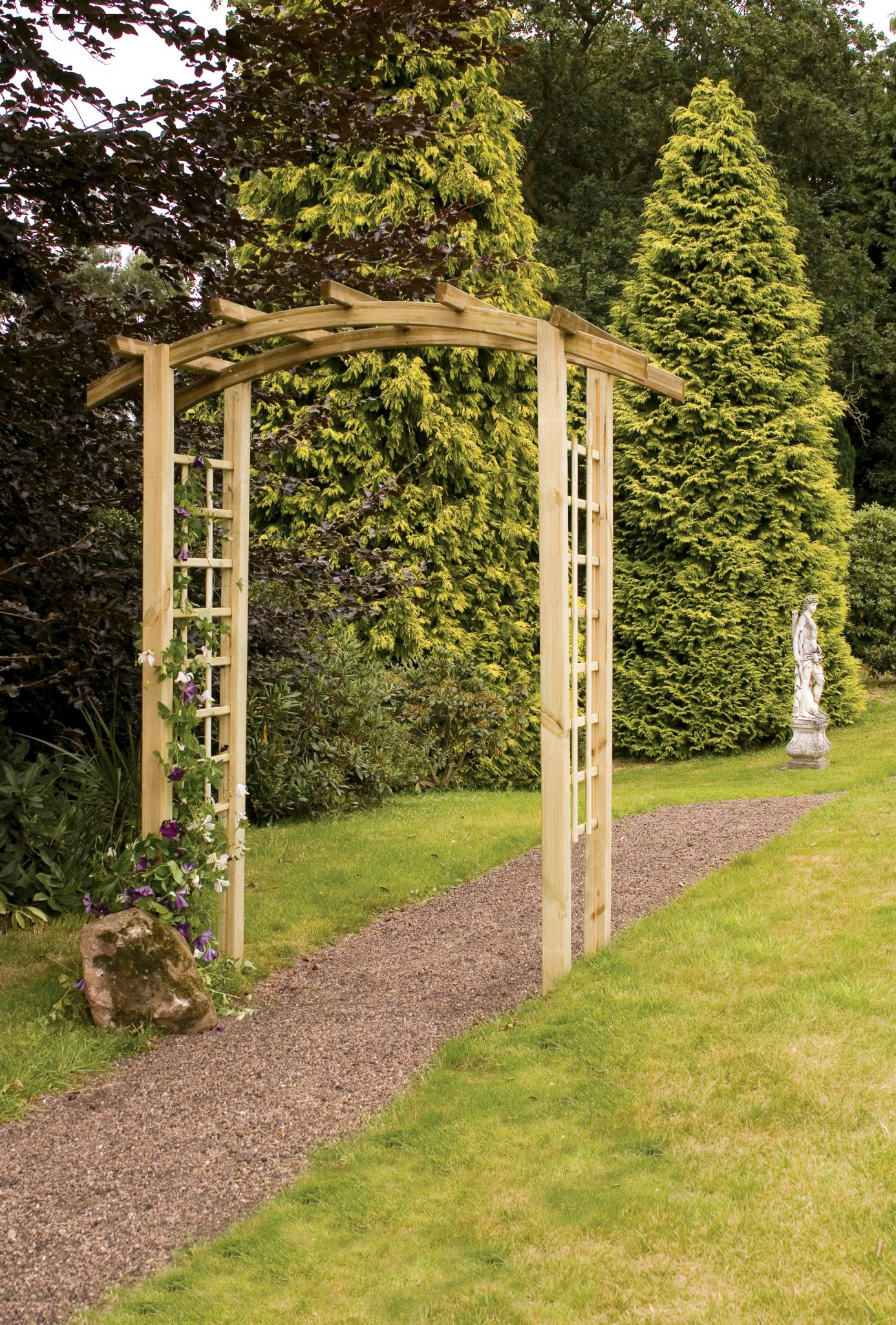 The Bow Top Garden Arch comes with decorative square trellis sides enhancing any garden space. The structure is ideal for creating an impressionable pathway, or as a decorative garden feature. The timber is pressure treated for enhanced protection.