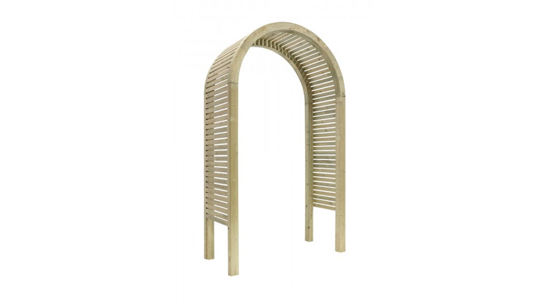 The Contemporary Garden Arch is a substantial and stylish structure. The chunky arched top, posts and slats are planed, rounded and chamfered for a modern look. Use with climbing plants along a pathway or as a standalone feature in your garden.