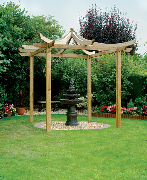 oriental inspired Dragon Pergola which creates an interesting dimension for any garden. The pergola acts as an effective frame for a flower display or water feature which is suitably displayed on a lawn or patio area. The pressure-treated timber provides protection