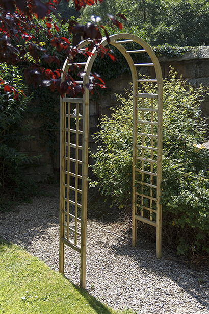 This subtle Elite Garden Arch creates an attractive garden structure. The square trellis sides are complemented by a curved top. The pressure treated timber provides extra resistance to outdoor elements.