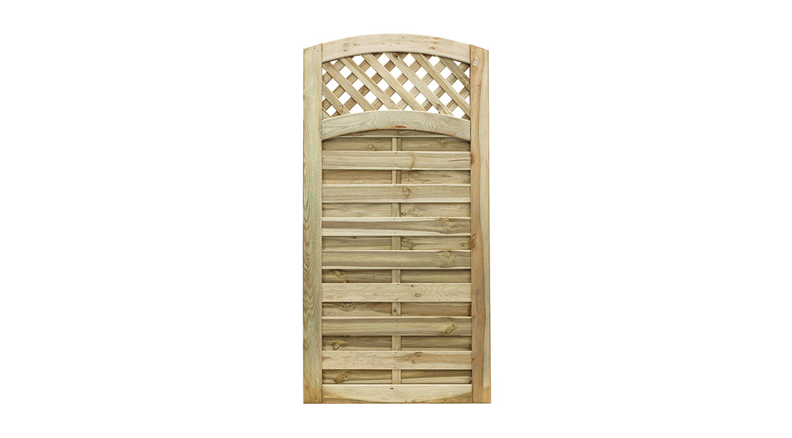 The Elite Meloir gate offers a simplistic yet decorative design of a domed edged and grooved trellis. Easily hung from either side, the gate features a fully Mortise and Tenon jointed frame which provides the ultimate security against high winds. The pressure-treated timber provides protection for wood rot and longevity in use. Matching fence panel and trellis available.