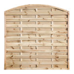 An elegant panel with a classic domed top and contrasting straight cut slats that are planed, rounded and grooved for an extra decorative look. The timber slats are secured into a strong rebated frame and pressure-treated green providing protection against wood rot and fungal decay.