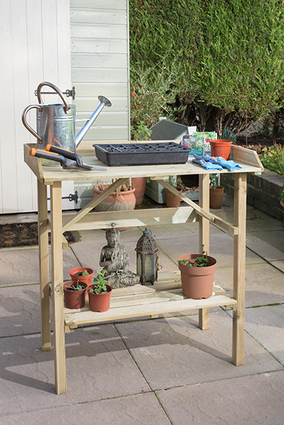 Our timber potting table features a good sized working area perfect for preparing your new plants and seeds as well as a useful shelf that could be used for storing tools, gloves and other useful items. Made from pressure treated timber for long lasting use.