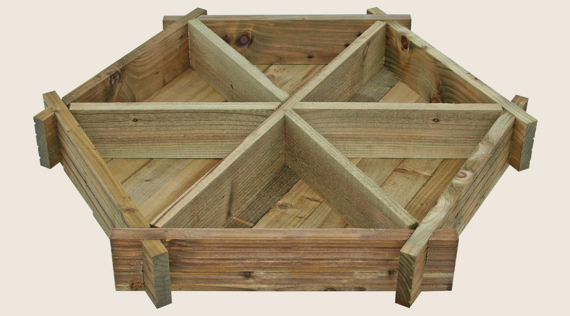 The Herb Wheel Planter is a practical, multi-compartmental planter ideal for growing your favourite herbs. The hexagonal design provides six sectioned growing spaces. This easy to assemble planter is made from a natural pressure treated timber, providing protection against rot and decay.