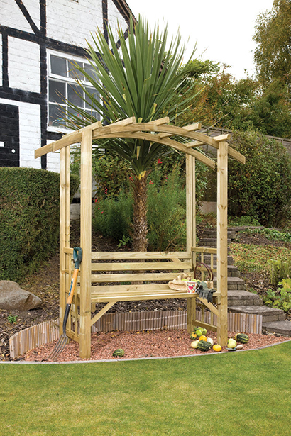 The Romana Arbour is a simplistic structure that will add to the appearance and character of your garden. The comfortable bench is ideal for you to sit and relax, whilst the half trellised sides are perfect for supporting climbing plants. The pressure-treated timber ensures protection and longevity in use.