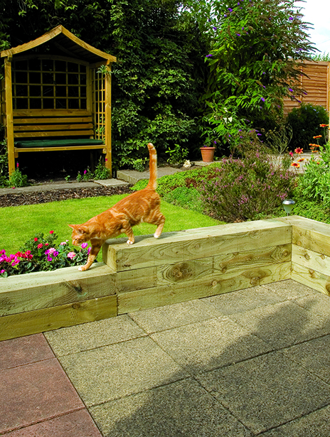 A large piece of timber in the design of a classic railway sleeper. Use for garden edging, creating steps, raised terraces or beds. Pressure-treated for protection.