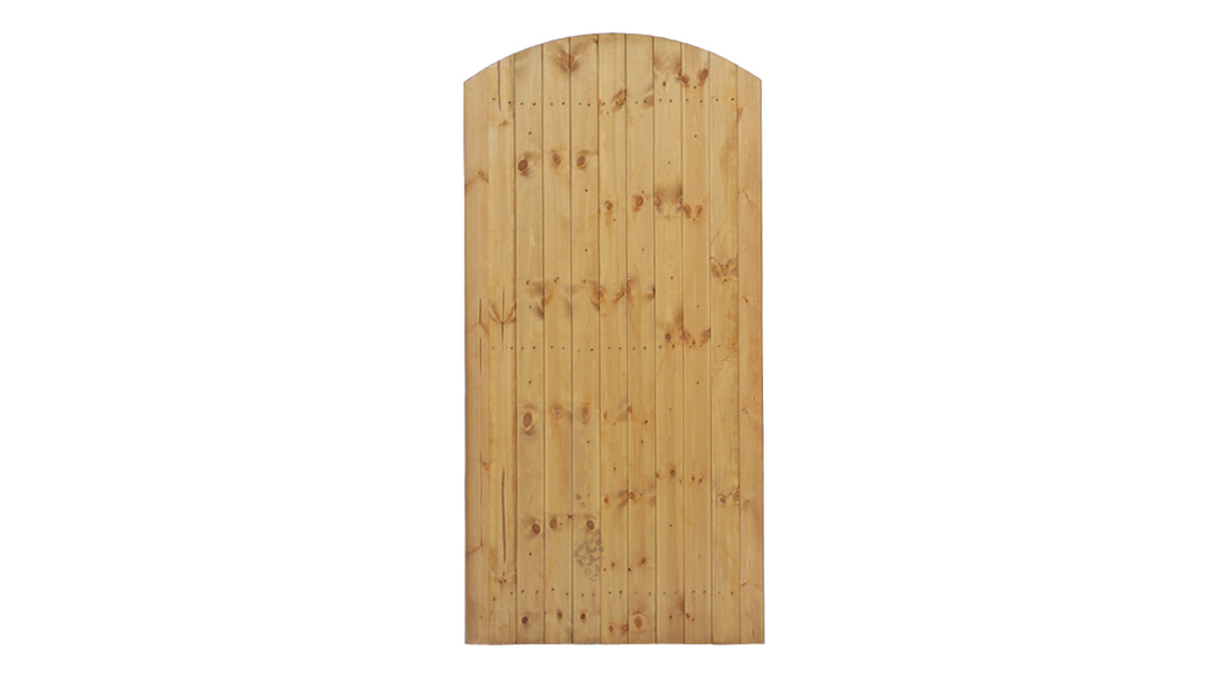 The Side Entry Arch is a heavy duty gate, planed pressure-treated in golden brown colour treatment which ensures longevity in use. It has a sturdy mortise and tenon jointed frame, the gate itself can be hung from either side.