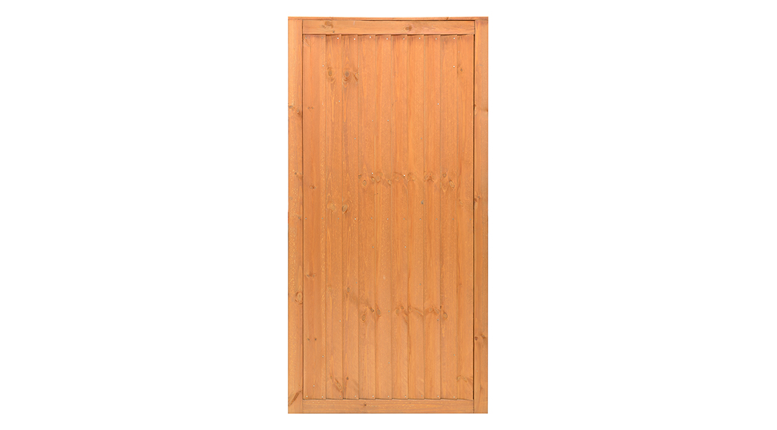 A classic vertical board gate with a fresh new look. Re-engineered with fine sawn timber for a smooth and premium finish. Pressure-treated with a golden brown colour providing strength and longevity in use. Matching Closeboard Panel available.