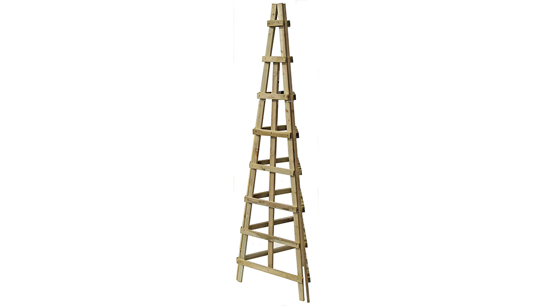 This three sided Trellis Obelisk is ideal for growing runner beans or other climbing plants. The pressure treated timber provides extra protection against wood rot and decay.