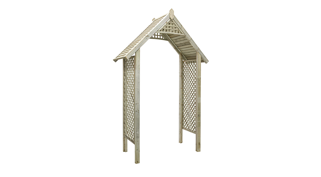 The Valencia Arch is a strong and robust arch with diamond trellis sides, and a slatted roof finished with pointed finials. This classic design is ideal as a garden feature, or creating an attractive arch over a pathway. Made from pressure treated timber to protect against wood rot and decay.