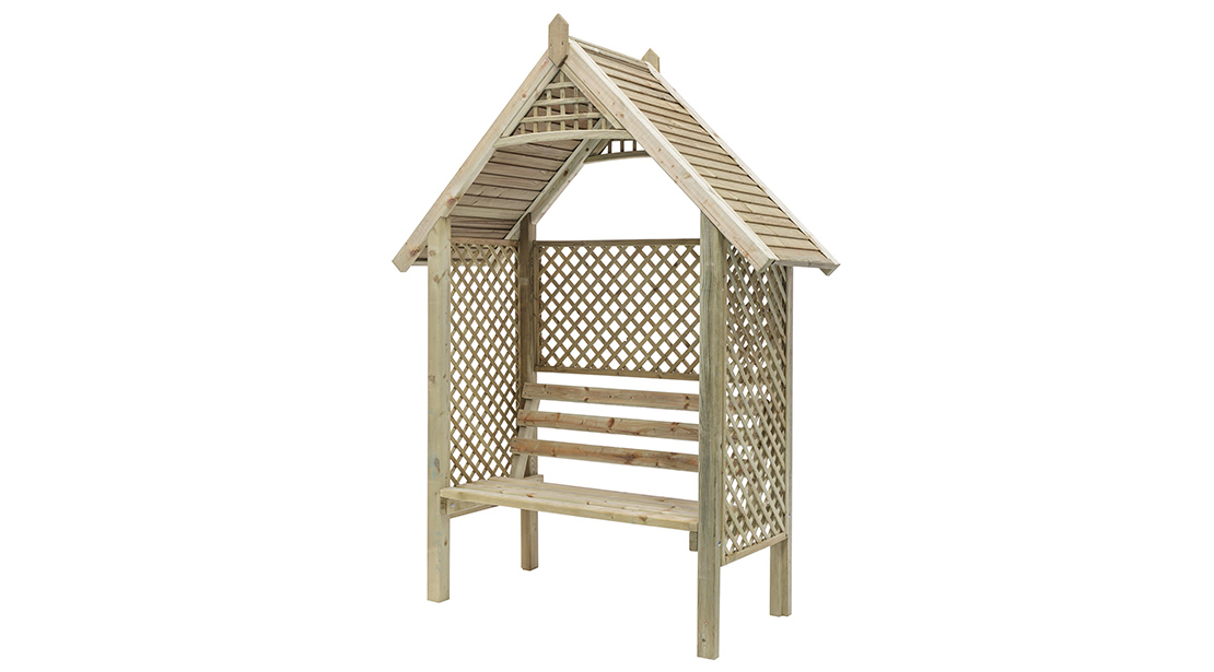 This classic arbour is designed with diamond trellis sides and back to support climbing plants. The slatted roof provides extra protection from the sun, and the sturdy yet comfortable bench enables you to sit back and relax. It is made from pressure-treated timber for long lasting protection.This classic arbour is designed with diamond trellis sides and back to support climbing plants. The slatted roof provides extra protection from the sun, and the sturdy yet comfortable bench enables you to sit back and relax. It is made from pressure-treated timber for long lasting protection.