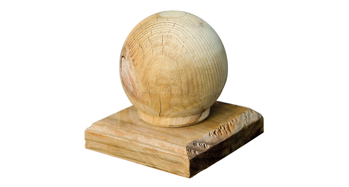The Elite Ball Finial Post Cap is a decorative way of finishing off fence panel posts. The design features a turned piece of timber that is pressure treated green for protection against wood rot.