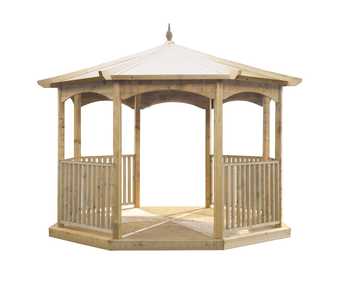 eight-sided Riviera Gazebo is an impressive structure. The fine sawn timber provides a smooth, superior finish.