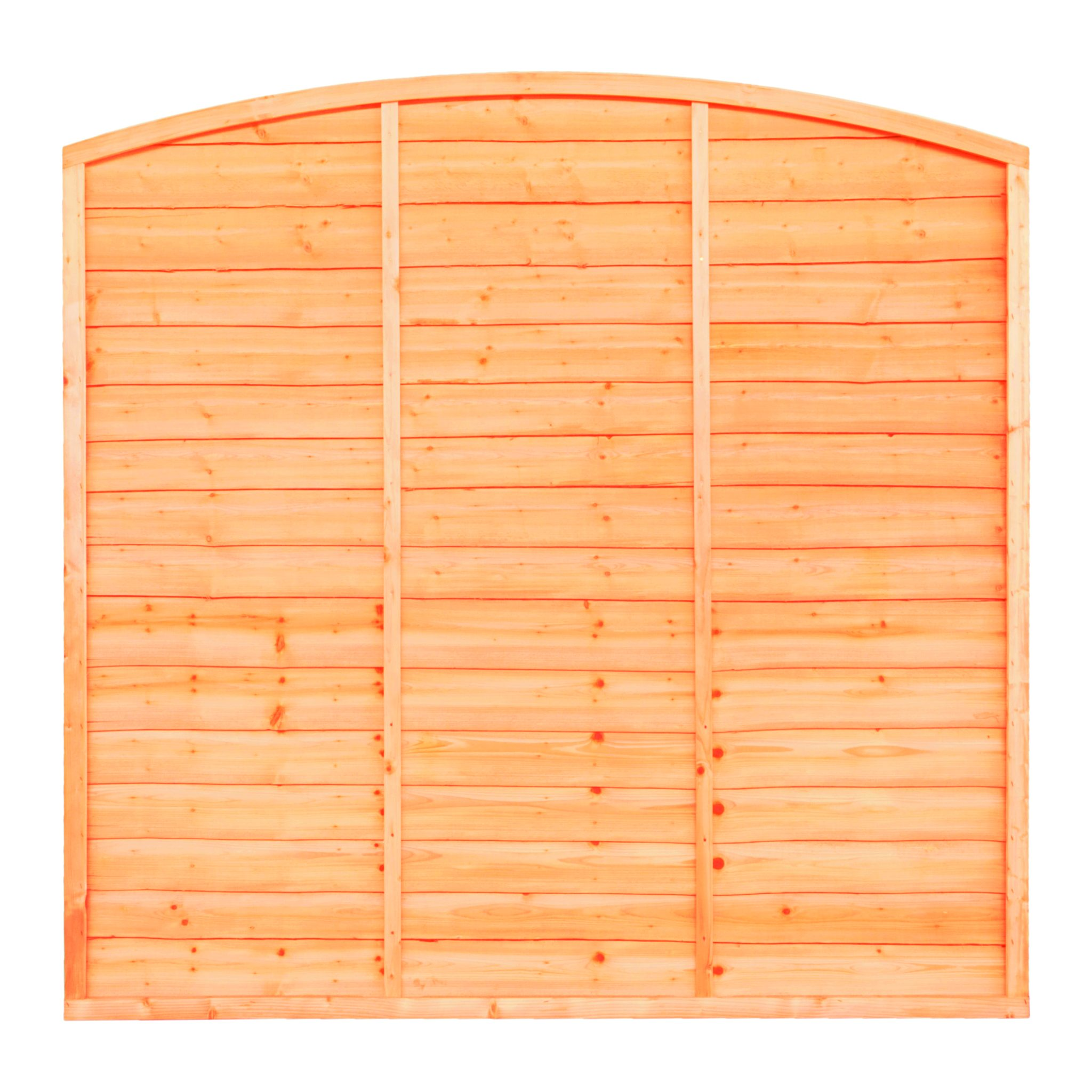 SUPERIOR BOW TOP LAP FENCE PANEL An added twist to a simple design, a stronger lap panel constructed using double waney edge slats that are secured into a neat arched shaped rebated frame.