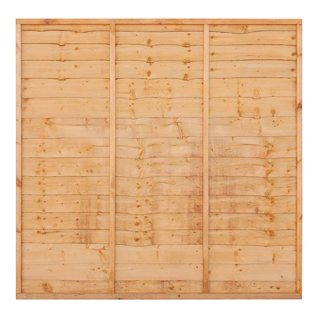 A new and improved overlap panel constructed using double waney edge slats that are secured into a neat rebated frame, making it stronger than a traditional panel. Available in a choice of pressure-treated Golden Brown or pressure-treated Green, offering protection against wood rot and decay.