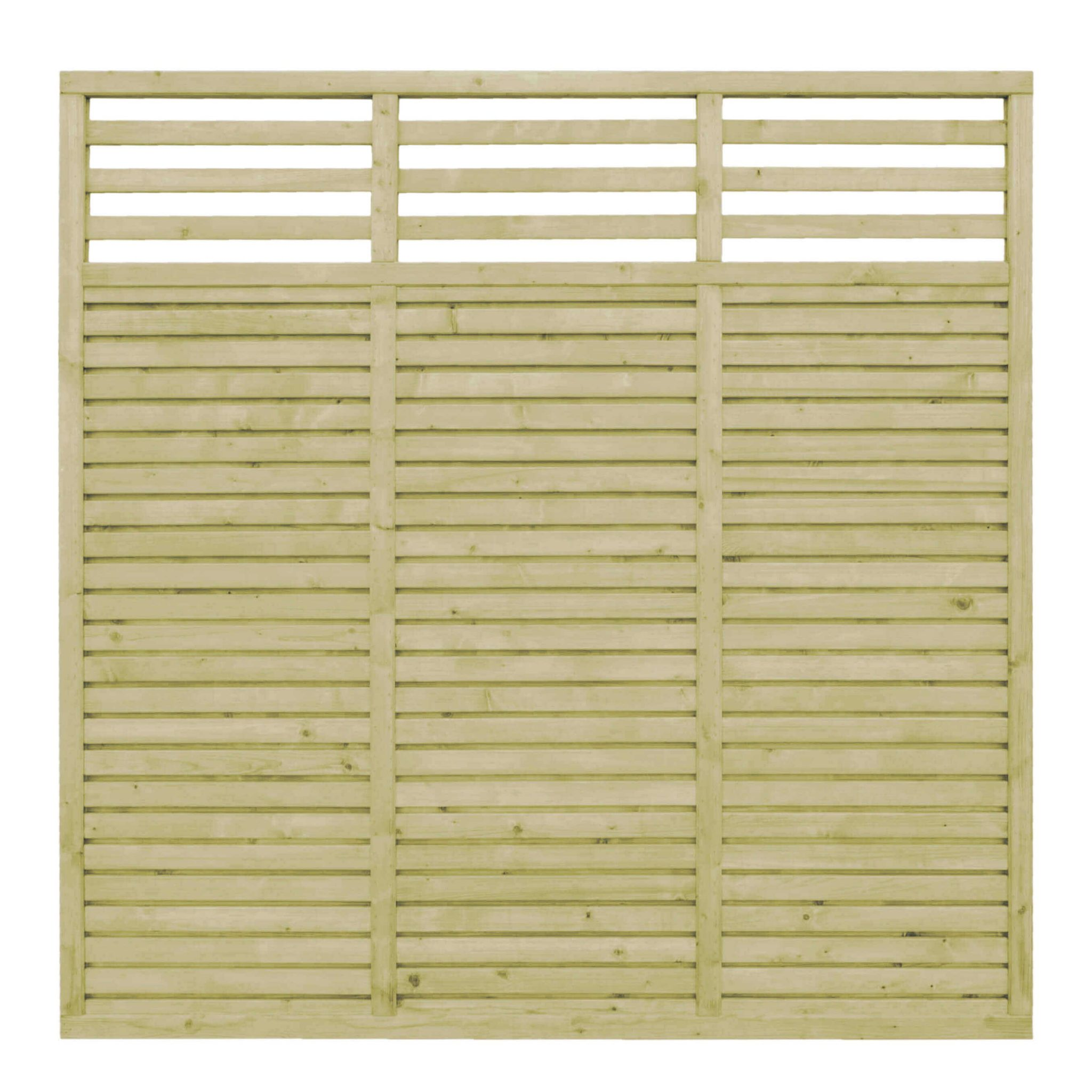 A heavyweight fence panel that combines the functionality and look of the Contemporary Vogue Panel with the added feature of a horizontal style trellis top to create a modern twist on an already popular panel.